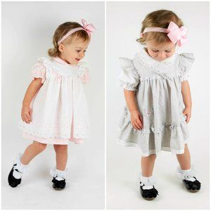 Vintage Baby Girl Dress Gray floral & pink white